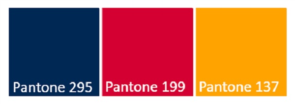 Picture of the State Colours including Pantone 295, Pantone 199 and Pantone 137
