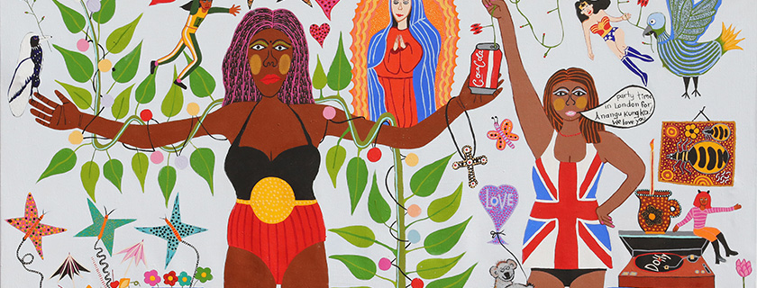 Kaylene Whiskey Anangu Kungka and London Lady (detail) 2020. Image courtesy of the artist and Iwantja Arts