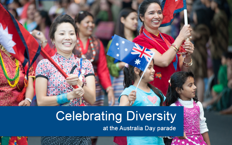 parade with Australian flag