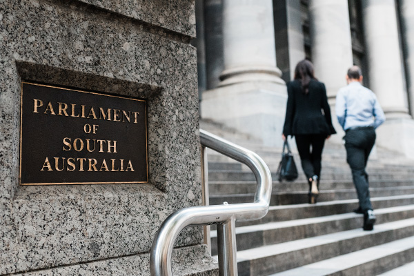 Picture of people walking up steps to the Parliament of South Australia