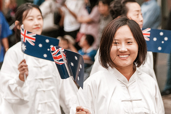 Picture of ladies marching at Australia Day parade