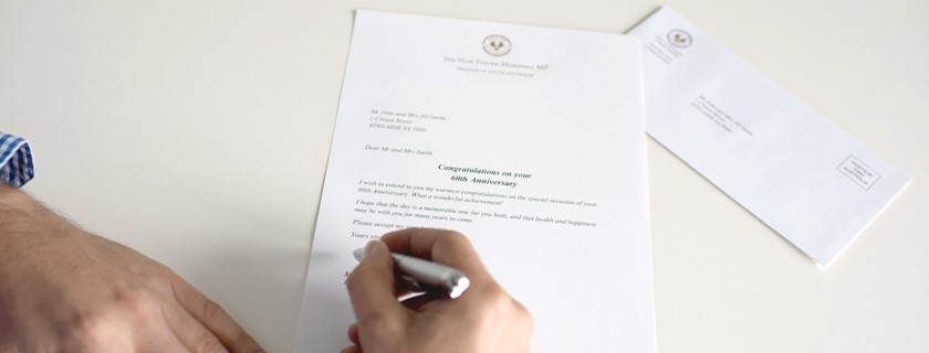 Person signing an official letter